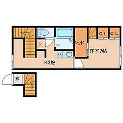 近鉄奈良線 大和西大寺駅 徒歩5分の賃貸アパート 2階1Kの間取り