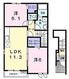 広島県福山市幕山台2丁目の賃貸アパートの間取り