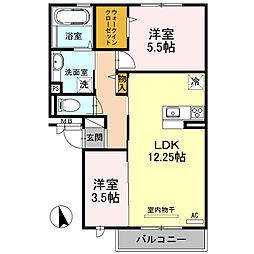 大阪府堺市中区福田の賃貸アパートの間取り
