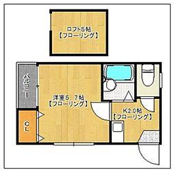 福岡県福岡市城南区別府2丁目の賃貸アパートの間取り