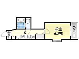 CASA MT東三国 2階1Kの間取り