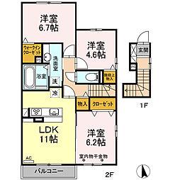 仮)D-room下香貫[2階]の間取り