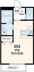 都営三田線 白山駅 徒歩7分の賃貸マンション 2階ワンルームの間取り