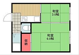 南国マンション[2階]の間取り