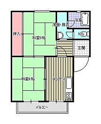 パークハイツ笹山[2階]の間取り