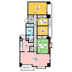 佐鳴湖パークタウン12号棟[12階]の間取り
