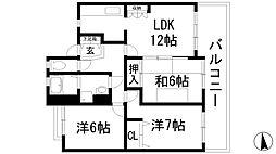 旭丘あけぼのマンション[2階]の間取り
