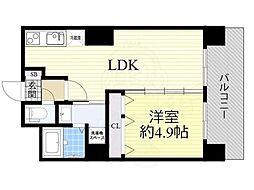 Osaka Metro御堂筋線 新大阪駅 徒歩9分の賃貸マンション 22階1LDKの間取り