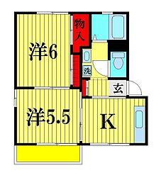 千葉県松戸市稔台7丁目の賃貸アパートの間取り