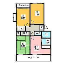 ジュネス仲島II[3階]の間取り