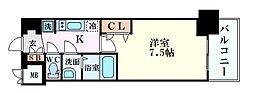 Osaka Metro堺筋線 堺筋本町駅 徒歩5分の賃貸マンション 2階1Kの間取り