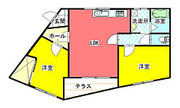 宮崎県小林市大字細野の賃貸アパートの間取り