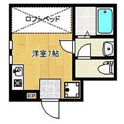 小田急小田原線 世田谷代田駅 徒歩6分の賃貸アパート 1階ワンルームの間取り