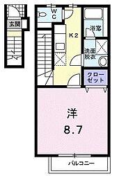 東京都多摩市東寺方の賃貸アパートの間取り
