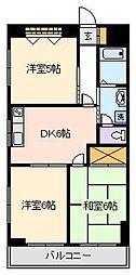 パークサイド新家[6階]の間取り