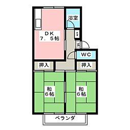 プレジール法華[2階]の間取り