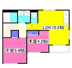 西武多摩湖線 武蔵大和駅 徒歩23分の賃貸アパート 2階2LDKの間取り