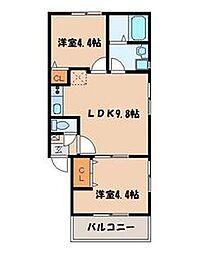 カトレア 天神東[1階]の間取り