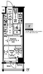 都営大江戸線 門前仲町駅 徒歩5分の賃貸マンション 4階1DKの間取り