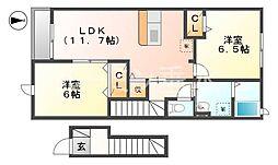 兵庫県洲本市宇原の賃貸アパートの間取り