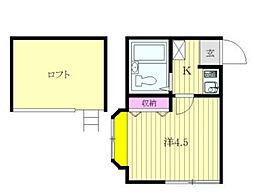 神奈川県大和市南林間1の賃貸アパートの間取り