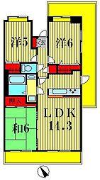 ライオンズヒルズ松戸[6階]の間取り