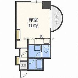 ビッグバーンズマンション N11 6階ワンルームの間取り