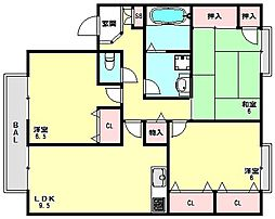 兵庫県神戸市西区白水3丁目の賃貸アパートの間取り
