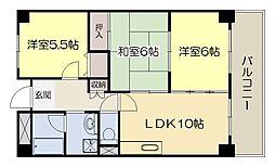 緑地シティハイツ 5階3LDKの間取り