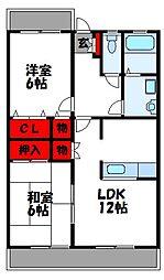 福岡県宗像市日の里7丁目の賃貸マンションの間取り