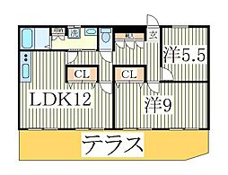 グランディーコート江戸川台[1階]の間取り
