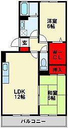 福岡県中間市中央4丁目の賃貸アパートの間取り
