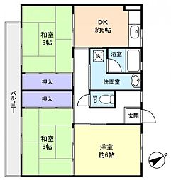 ビレッジハウス古和釜3号棟[4階]の間取り