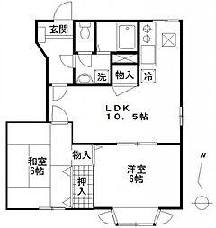 東京都狛江市猪方2丁目の賃貸マンションの間取り
