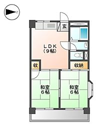ビラ安藤[4階]の間取り