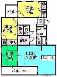 兵庫県西宮市霞町の賃貸マンションの間取り