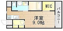 ヴァンスタージュ大阪城East 6階1Kの間取り