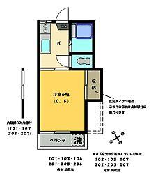 三明ハウス[202号室]の間取り