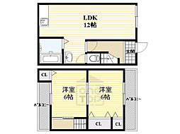 JR片町線(学研都市線) 鴫野駅 徒歩4分の賃貸一戸建て 1階2LDKの間取り
