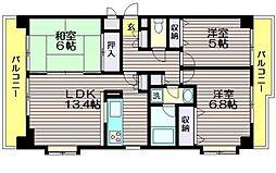 東京都世田谷区北烏山8丁目の賃貸マンションの間取り