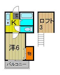 川口ライフ[2階]の間取り