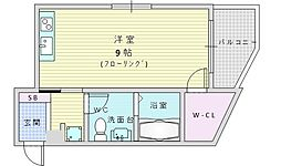 阪急千里線 千里山駅 徒歩3分の賃貸マンション 3階ワンルームの間取り