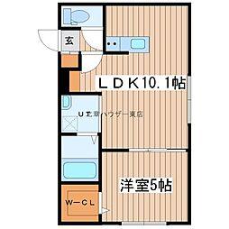 フチュール 2階1LDKの間取り