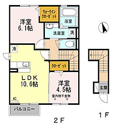 シュプリーム takehachi A[2階]の間取り