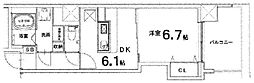 ベレビュー七条河原町 5階1DKの間取り