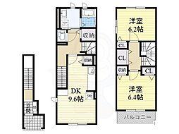 泉北高速鉄道 深井駅 徒歩15分の賃貸アパート 2階2DKの間取り