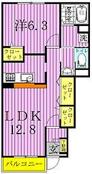 ヒルサイドコートA[102号室]の間取り