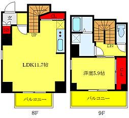 JR山手線 西日暮里駅 徒歩2分の賃貸マンション 8階1LDKの間取り