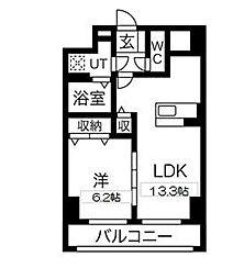 アマルフィーノ 7階1LDKの間取り