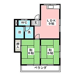 第二コーポ山田[3階]の間取り